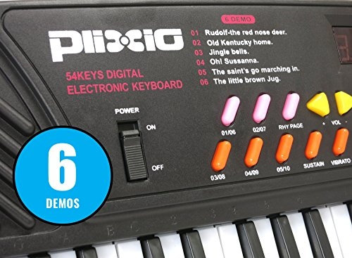 Plixio 54 Key Children's Electric Digital Keyboard Piano Electronic Music Organ