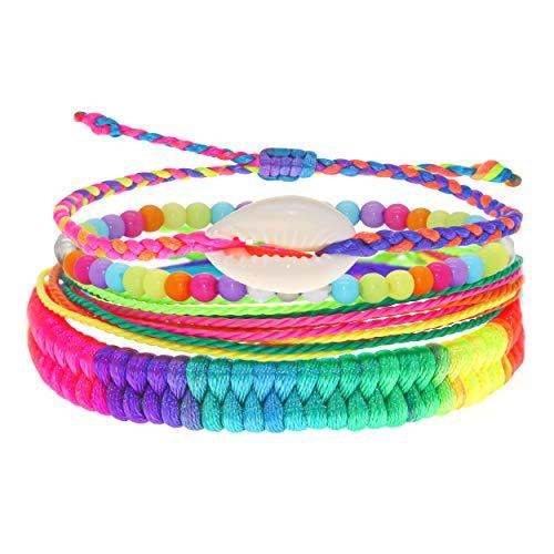 FROG SAC VSCO Bracelets for Teen Girls, VISCO Girl Stuff Bracelet Pack, Girls VSCO Stuff Braided Bracelets, Bead Bracelets, String Bracelets, Puka Cowrie Shell Bracelets, Rainbow Friendship Bracelets