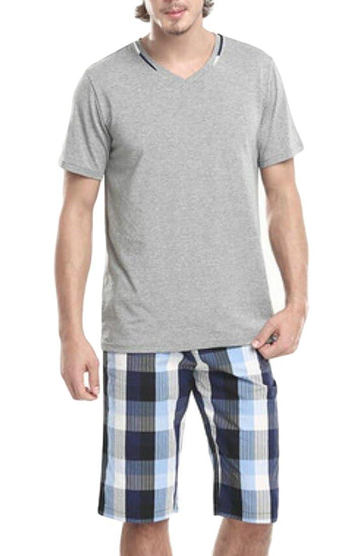 YYear Mens 2 Pieces Cotton Short Sleeve Shirts and Tops Pajama Set