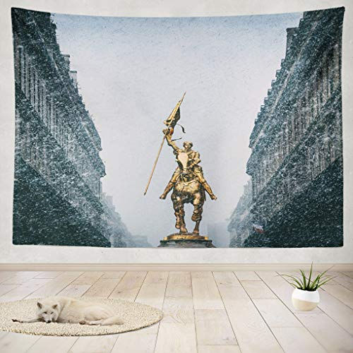 Joan Of Arc Statue Paris - threetothree 80 X 60 Inches Tapestry Wall Hanging Interior Decorative Vintage Women Urban Bicycle Paris City Golden Statue for Bedroom Living Room Tablecloth Dorm