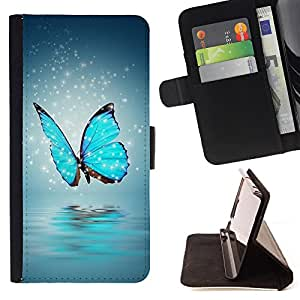 King Air - Premium PU Leather Wallet Case with Card Slots, Cash Compartment and Detachable Wrist Strap FOR Samsung Galaxy S5 Mini SG870a, SM-G800- Butterfly Fly Beautiful Colorful