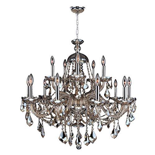 Worldwide Lighting Provence Collection 15 Light Chrome Finish and Golden Teak Crystal Chandelier 35