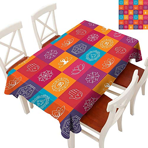 Yoga Rectangle Tablecloth Colorful Collection of Yoga Icons and Relaxation Symbols Wellness Harmony Health Zen Washable Polyester - Great for Buffet Table, Parties, Holiday Dinner, Wedding & MoreMult