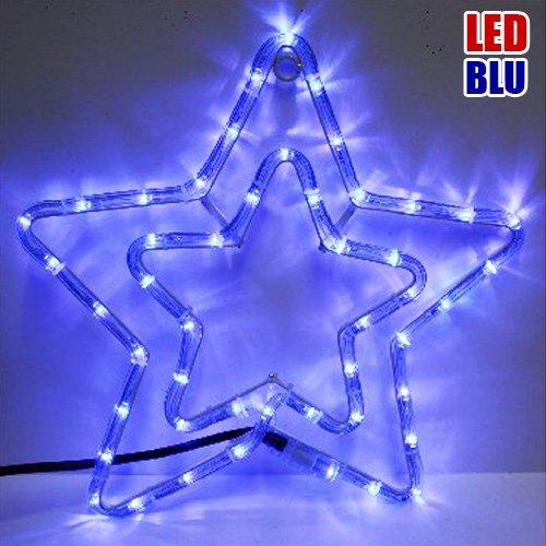 Stella Luminosa Di Natale.Doppia Stella Natalizia Luminosa 50 Led Colore Blu Per Uso Esterno Bakaji Lighting