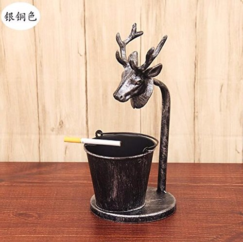 SFSYDDY Iron Creative Ktv Restaurant Car Ashtray Pen Collection Animal Deer Head Cafe Silver Copper Color by SFSYDDY