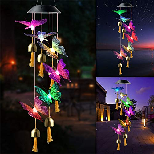 JOBOSI Color Butterfly Wind Chimes Wind Bell Garden Decor Garden Gifts Butterfly Gifts, Solar Wind Chime, Wind Chime Outdoor, Gifts for mom, Gifts for Grandma, Garden Gifts, Butterfly Gifts