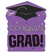 """Amscan """"Congrats Grad!"""" Graduation Party Large Cutout Decoration, Purple/Black, 10 1/2"""" x 14"""""""