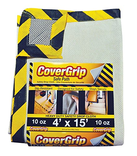 CoverGrip 41510 041510 Heavy Duty Safe Path 10 oz Canvas Safety Drop Cloth, 4' x ()