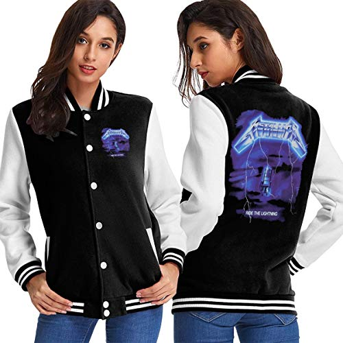 Skull Metallica Music Ride The Lightning Women's Baseball Jacket Uniform Hoodie Sweatshirt Sweater Tee