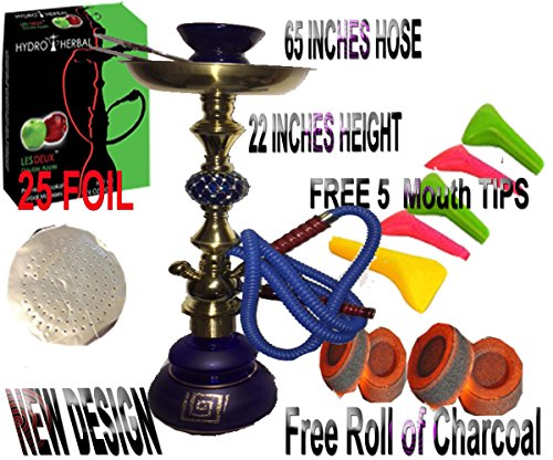 1 Hose,Water Shisha Bong Glass Smoking, Free charcoal & Mouth tips , Flavor and 25 foil (BLUE DECORATED WITH APPLE) (Bowl Smoking Apple)
