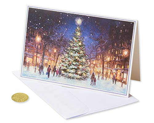 American Greetings 6027147 Premium City Street Scene Christmas Boxed Cards and Gold Foil-Lined White Envelopes, 14-Count,