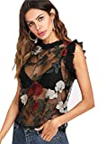 BabyPrice Women Sexy Floral Embroidered Frill Trim Sheer Mesh Top Tee Sleeveless See Through T-Shirt Blouse