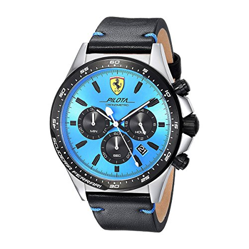 Scuderia Ferrari Men's 'PILOTA' Quartz Stainless Steel and Leather Casual Watch, Color:Black (Model: - Ferrari Men Scuderia