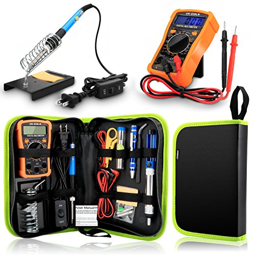 Basic Electrical Tool Kit - Anbes Soldering Iron Kit 60W Adjustable Temperature Welding Tool,Digital Multimeter,2pcs Soldering Iron Tips,Desoldering Pump,Wire Stripper Cutter,Tweezers,Soldering Iron Stand,2pcs Electronic Wire