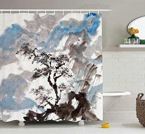 (LLuotryce Bath Curtain, Japanese Decor Collection, Hazy Artistic Depiction of A Pine Tree LAN Cape on The Hill Mountain with Rough Blasts, Polyester Fabric Bathroom Shower Curtain Blue)
