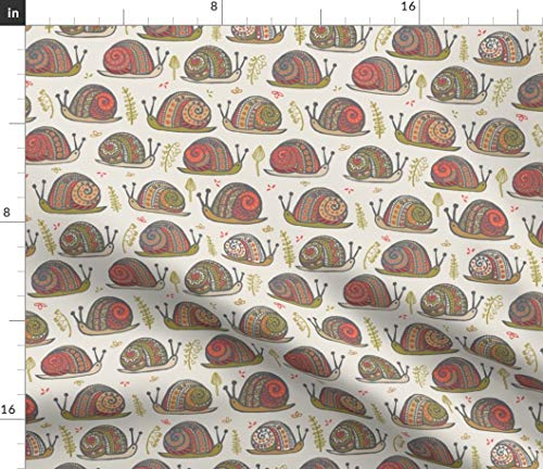 Spoonflower Snail Fabric - Cute Kids Nursery Orange Sage Paprika Print on Fabric by The Yard - Chiffon for Sewing Fashion Apparel Dresses Home Decor