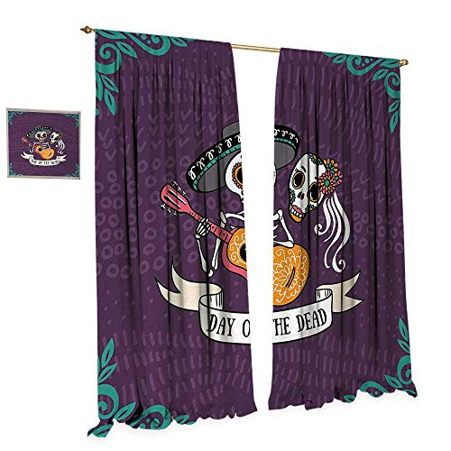 Day of The Dead Waterproof Window Curtain Invitation to Traditional Celebration Party with Mexican Music Performance Blackout Draperies for Bedroom W108 x L84 -