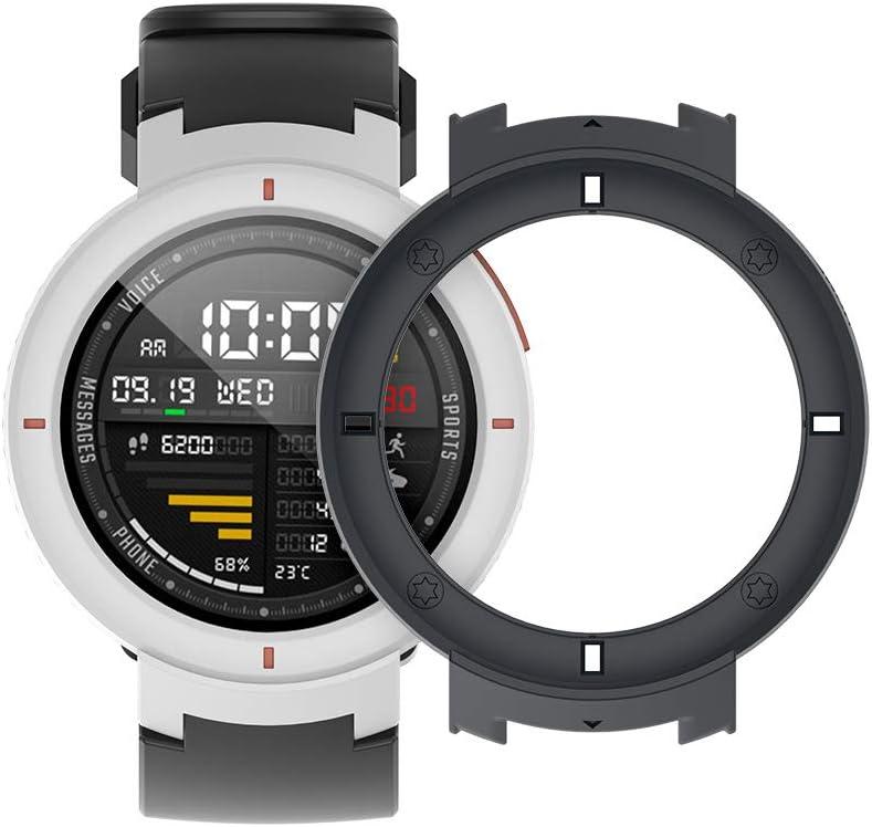 SIKAI Protector Case Funda para Amazfit Verge 3 Smartwatch Moda Slim Colorido Marco Caso Cubierta Proteger Shell para Amazfit Reloj Lightweight PC Funda de Protección (Negro)