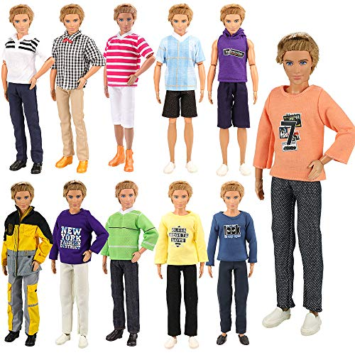 - BARWA Lot 5 Sets Fashion Shirt Outfit Clothes with Trousers for 12 inch Boy Friend Doll