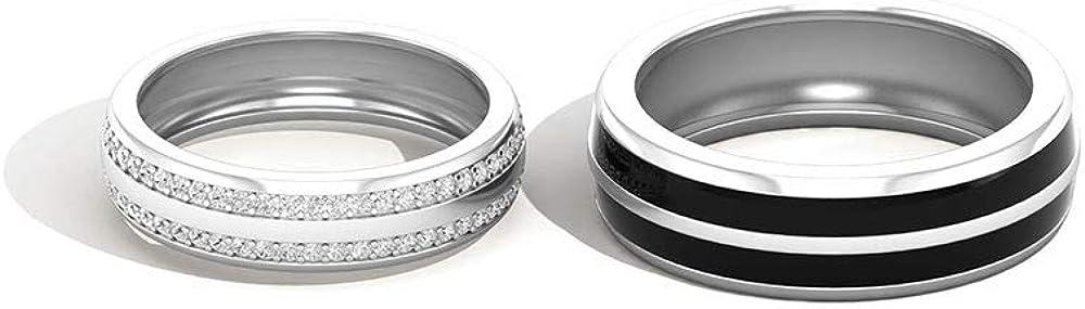 Anillos de boda con certificado IGI, anillo de compromiso con diamantes, esmalte negro, IJ-SI, anillo apilable para parejas, 10K Oro blanco, Size:EU 64