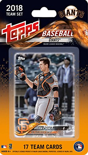 2018 Topps Baseball Factory San Francisco Giants Team Set of 17 Cards which includes: Buster Posey(#SG-1), Hunter Strickland(#SG-2), Ty Blach(#SG-3), Brandon Belt(#SG-4), Johnny Cueto(#SG-5), Jeff Samardzija(#SG-6), Hunter Pence(#SG-7), Evan Longoria(#SG-8