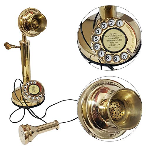 Antique Vintage Electric Corded Candlestick Phone Rotary Dial Desktop Western Electric,18 inch,Brass