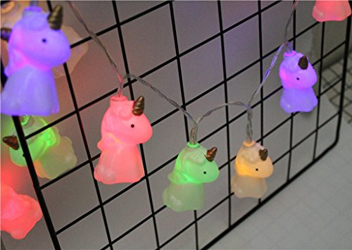 Circle 1.5 m / 4.9 ft 10 Lights Battery Powered Cute Unicorn Shape LED String Lights for Indoor/Outdoor Halloween Christmas Thanksgiving Home Party Children Kids Bedroom Decoration (Multicolor)]()