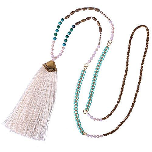 KELITCH Syuthetic Turquoise Crystal Beaded Necklace Tassel Layering Pendant Necklace New Jewelry (White 1)