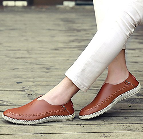 YiLianDa Herren Sommer Breathable Leder Schuhe Gehen Anti Rutsch Slippers Hellbraun