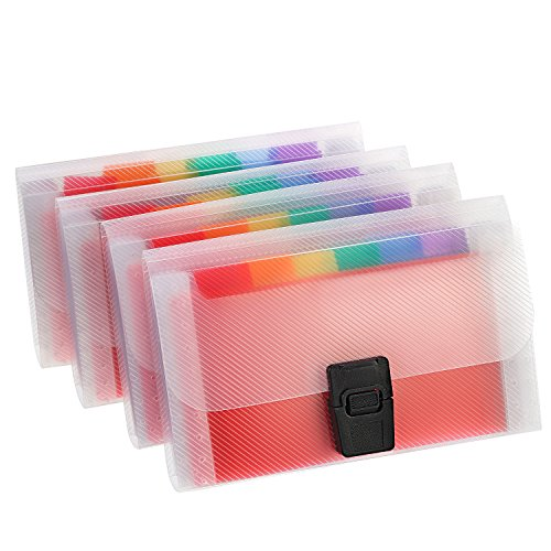 Mtlee 4 Pack Mini Document File A6 7.1 x 4.45 x 1.1 Inch Rainbow Expanding Folder 13 Pocket File Organizer 12 Labels Index