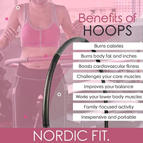 Nordic Fit Adjustable Weighted Dance & Fitness Professional Hula Hoop with Resistance Bands, Great for Burning Fat, Dancing, Exercise and Weight Loss - Start The Year with a New You, Transform 5