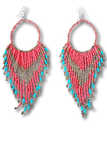 Tribal Dangle Fringe Tassel Bead & Hoop Earrings Native American Style by Pashal (Red w/Turquoise Fringe)