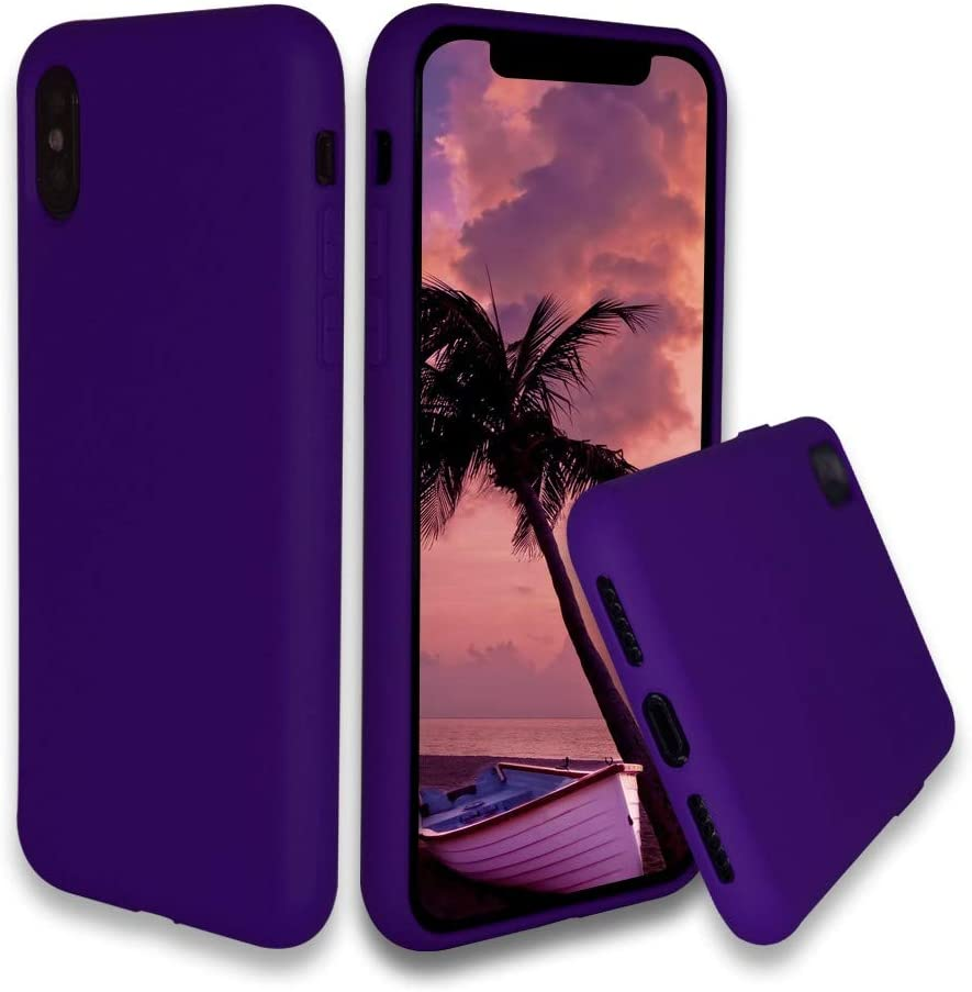 Silicone Rubber iPhone X/Xs Case with Microfiber Cloth Lining Slim Full Protection Case for iPhone X iPhone Xs (Purple)