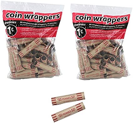 72 Preformed Penny Tubes Paper Coin Wrapper 1 Cent Pennies Shotgun Roll