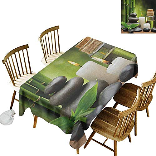 DONEECKL Spa Oil-Proof Tablecloth Seamless Design Hot Massage Rocks Combined with Candles and Scents Landscape of Bamboo Print Green White and Black W70 ()