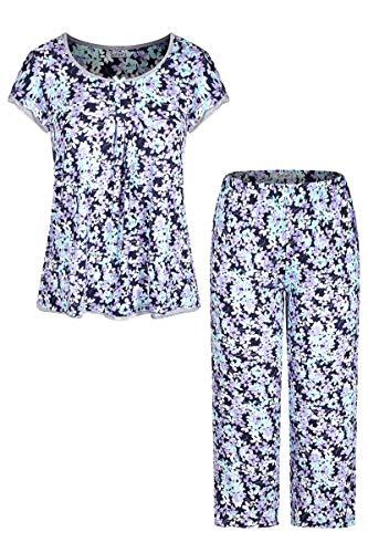 SofiePJ Women's Rayon Cap Sleeve Floral Printed Top with Capri Pants Pajama Set Blue White -