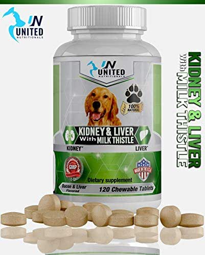 United Nutritionals Kidney and Liver Support for Dogs with Milk Thistle, Detox, DHA, EPA, Hepatic Support, Dandelion Root, Vitamin B1,B2,B6,B12, Omega-3 Fish Oil, 60/120 Chewable Tablets. (120)