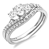 0.75 Carat (ctw) 14K White Gold Round Diamond 3 Stone Bridal Engagement Ring Set 3/4 CT (Size 7)