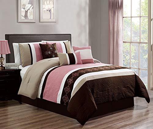 JBFF 7 Piece Luxury Embroidery Bed in Bag Microfiber Comforter Set (Pink, Queen) ()