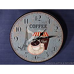 Coffee in Paris cafe Themed Wall Clock, Shabby Chic,Beautiful Eiffel Tower and coffee cup design on the face of the dial..!