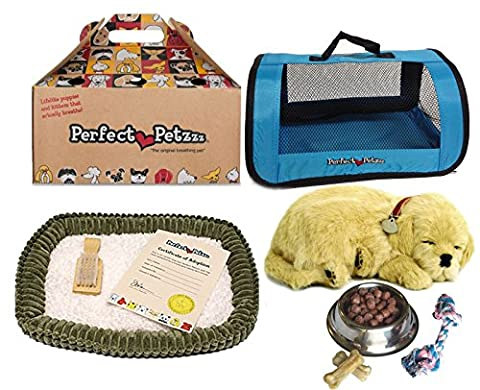 Perfect Petzzz Golden Retriever Plush with Blue Tote For Plush Breathing Pet and Dog Food, Treats, and Chew - Blue Puppy Plush