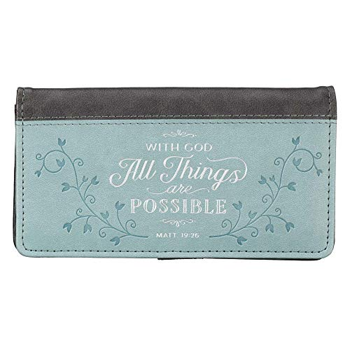 All Things Teal LuxLeather Checkbook Cover - Matthew 19:26