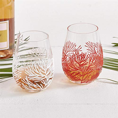 Two's Company Stemless Glass Wine Glasses Set of Four Coral