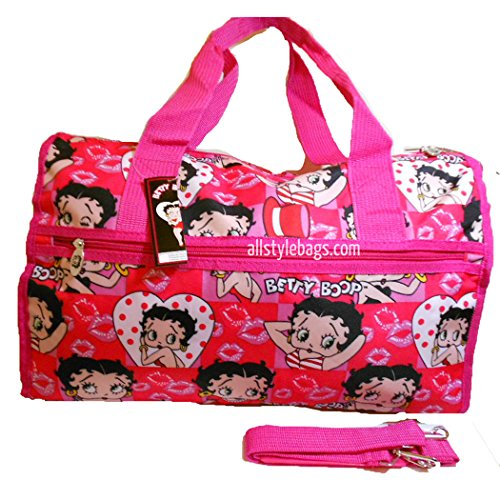 Cheap Betty Boop canvas Duffel 19″ travel Bag Shoulder overnight handbag Pink