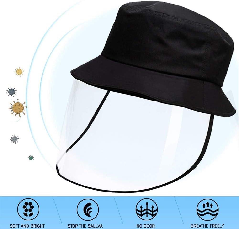 Cara de protección Pantalla extraíble transparente Sombrero anti-Escupir Splash facial cubierta a prueba de viento de seguridad a prueba de polvo Máscara Cap Ligera Pescador sombrero contra los rayos