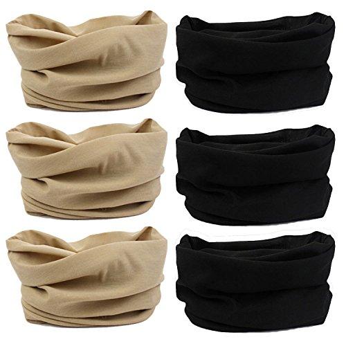 Lotuyacy Outdoor Wide Headband,Elastic Seamless Scarf UV Resistence Sport Headwear for Men&Women,Workout,Yoga,Multi Function,Constructed with High Performance Moisture Wicking Microfiber (Khaki+Black)