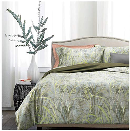 Eikei Home Minimalist Abstract Striped Duvet Quilt Cover Dusty Taupe Tan Light Grey Geo Brush Stroke Pattern 100-percent Cotton Sateen 400TC 3 Piece Bedding Set (King, Green Leaf)