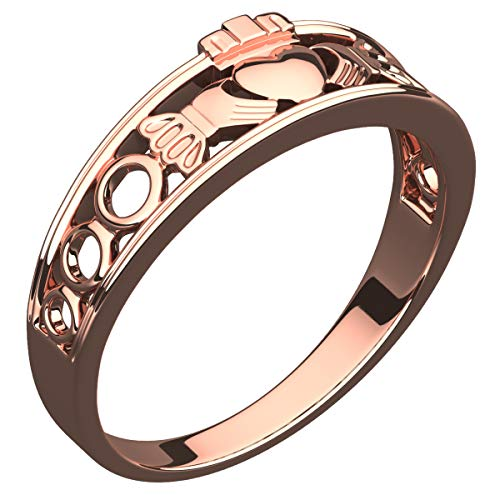 GWG 18K Rose Gold Plated Sterling Silver Claddagh Ring for Women Half Covered Design - 8