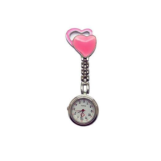 EATHGL Enfermera Unisex Broche de Reloj, Enfermera de atención médica médico Reloj Enfermeras de Doble corazón Reloj de aleación dial Regalo Nurse Lapel Pin ...