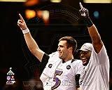 Joe Flacco & Ray Lewis Super Bowl XLVII Celebration Photo 10 x 8in